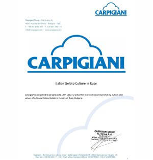 "Бизнес партньорство ""DON GELATO & CARPIGIANI"""