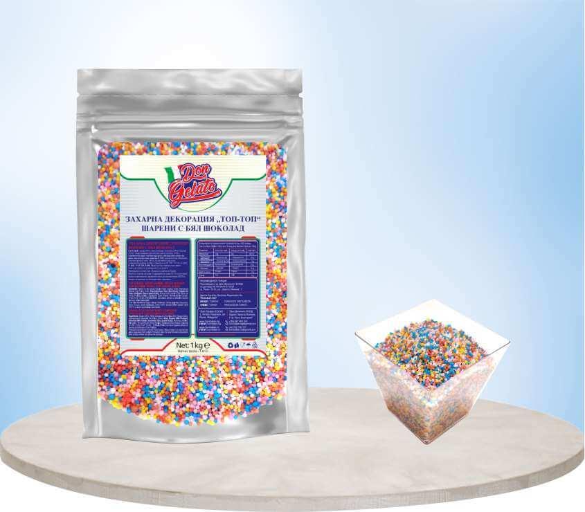 Шарени захарни топчета за декорация с бял шоколад Дон Джелато